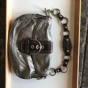 Silver leather Couch purse
